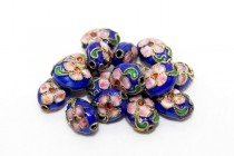 Cloisonne Flat Oval Beads, Cobalt Blue / Multicolored, Flowers
