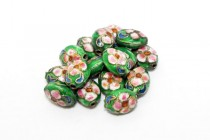 Green Cloisonné Flat Oval Beads with Colorful Flowers CL-195