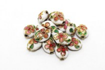 Cloisonne Flat Oval Beads, White / Multicolored, Flowers