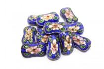 Cloisonne Bone-Shaped Beads ,Cobalt Blue / Multicolored , Flowers