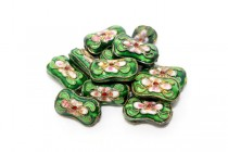 Cloisonne Bone-Shaped Beads, Green / Multicolored, Flowers