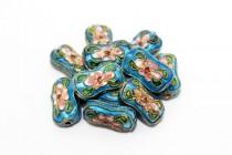 Cloisonne Bone-Shaped Beads, Aqua Blue / Multicolored, Flowers