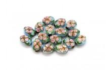 Aqua Blue Cloisonné Flat Oval Beads with Colorful Flowers CL-192