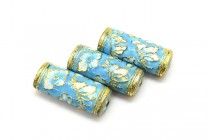 Aqua Blue Cloisonne Tube Beads with Butterflies and Flowers CL-81