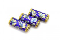 Cobalt Blue Cloisonne Tube Beads with Butterflies and Flowers CL-79