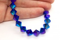 Cobalt AB 2x 5301/5328 Swarovski Elements Crystal Bicone Bead