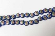 Porcelain Beads, Flat Dime, Floral, Cobalt Blue