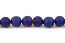 Druzy Agate ( Coated ) Opaque Cobalt Matte / Frosted Round Gemstone Beads