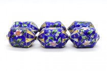 Cobalt Blue Enamel Six Sided Lantern Beads with Floral Accents