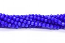 Cobalt Blue Fiber Optic Glass (Cats Eye) Faceted Round Beads