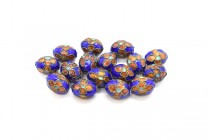 Cobalt Blue Cloisonné Egg Shaped Beads with Orange Flowers LSC-31
