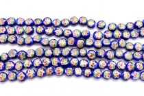 Cobalt Blue Floral Porcelain Beads - Coin Shaped