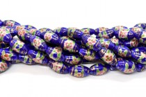 Cobalt Blue Floral Porcelain Beads - Rice/Oval