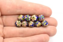 Cobalt Blue Cloisonne Round Beads with Pink Flowers CL-115