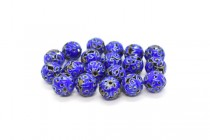 Cobalt Blue Cloisonne Round Beads with Cut Out Swirls CL-112