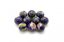 Cobalt Blue Cloisonné Large Round Beads with Pink Flowers LSC-36