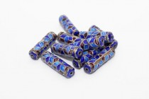 Enamel Cobalt Blue & Maroon Geometric - Tube-21x6mm