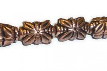 Copper,Antique Oxidized, Rectangle Four Petal Flower Beads 9x14mm