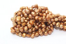 Copper (Dyed) Side Drilled Irregular Potato Freshwater Pearl Beads