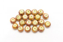 Orange/Coral & White Enamel Flower Shaped Beads - Puffed Coin EN-07
