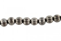 Gunmetal Plate over Pewter Corrugated Round Spacer Beads