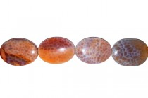 Crab Fire Agate, Treated, Flat Oval Gemstone Beads