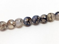 Agate ( Dyed ) Faceted Disco Ball Cut Round Gemstone Beads - Grey/ Black Crackle