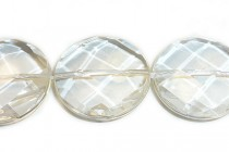 Clear Quartz (Natural) Faceted Coin Gemstone Beads