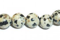 Dalmatian Jasper (Natural) Smooth Round Gemstone Beads - Large Hole