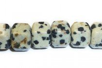 Dalmatian Jasper (Natural) Six Sided Drum Gemstone Beads - Large Hole