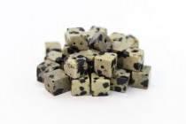 Dalmatian Jasper (Natural) Cube Gemstone Beads - Large Hole