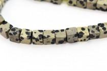 Dalmatian Jasper (Natural) Cube Gemstone Beads