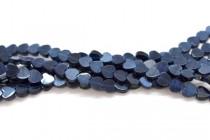 Dark Blue Fiber Optic, Cats Eye Glass, Flat Heart Beads