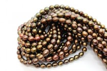 Dark Brown (Dyed) Oval/Rice Freshwater Pearl Beads