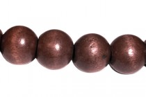 Wood Big Hole Round Beads - Red Brown
