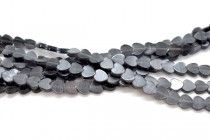 Dark Grey Fiber Optic (Cats Eye) Glass Flat Heart Beads
