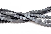 Dark Grey Fiber Optic, Cats Eye Glass, Flat Heart Beads