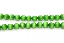 Dark Green Fiber Optic Glass (Cats Eye) Faceted Round Beads