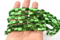 Dark Green Fiber Optic (Cats Eye) Glass Beads – Pillow/Square