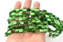 Dark Green Fiber Optic (Cats Eye) Pillow Beads