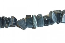 Dark Grey Fiber Optic (Cats Eye) Glass Beads - Chips