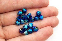 Dark Indigo AB2x Swarovski Crystal Bicone Beads 5301/5328