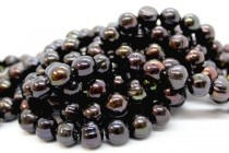 Almost Round Freshwater Pearls - Dark Plum / Peacock - A Grade