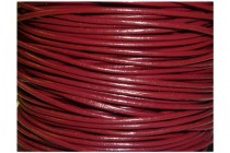 Cord, leather (dyed), dark red, round, greek. Sold per foot.