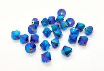 Dark Sapphire AB2x 5301/5328 Swarovski Elements Crystal Bicone Bead