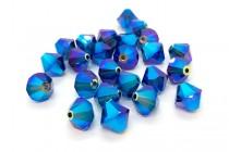 Dark Sapphire AB2x Swarovski Crystal Bicone Beads 5301 - Factory Pack