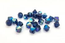 Dark Sapphire AB Swarovski Crystal Bicone Beads 5301/5328