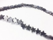 Dark Grey Fiber Optic (Cats Eye) Glass Star Beads