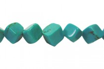 Turquoise (Dyed/Stabilized) Diagonally Drilled Cube Gemstone Beads