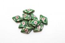 Cloisonne Diamond Long Beads, Green / Multicolored, Flowers